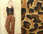 90s - Mustard & Brown - Animal - Leopard Print - Crinkle - High Waist - Pleated - Draped - Harem - Palazzo Pants