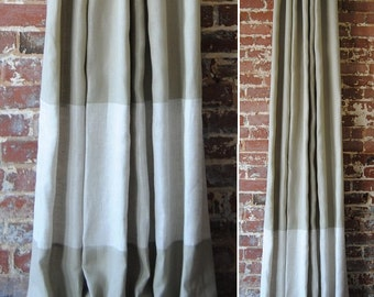 "120"" Banded Drapery Panel- custom linen curtains - 28 colors to choose from - drapery panels"