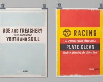 Cycling Art Prints: Cycling Quotes (Full set of 4 prints)