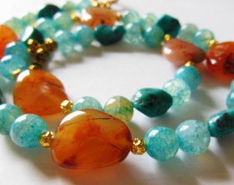 Agate Fire on blue sky gemstone necklace 587
