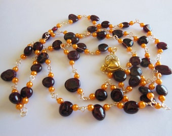 Agate drops on Sunshine pearls  handmade Necklace 684