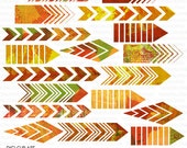 Painted Autumn Arrows - 18 Piece Digital Clip Art - INSTANT DOWNLOAD - for Cards, Artsy Scrapbooking, Collage, Invites, Crafts, Journaling