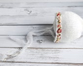 Sitter hat, 6 - 12 months, romantic handknit mohair white girl round back bonnet hat with floral ribbon photography prop - made to order