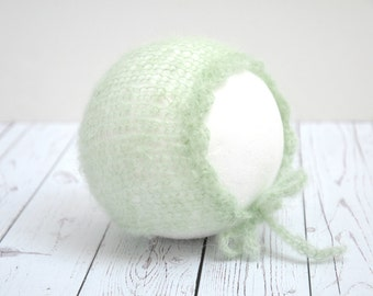 Fuzzy vintage mint green mohair knit newborn bonnet baby girl hat photography prop - made to order