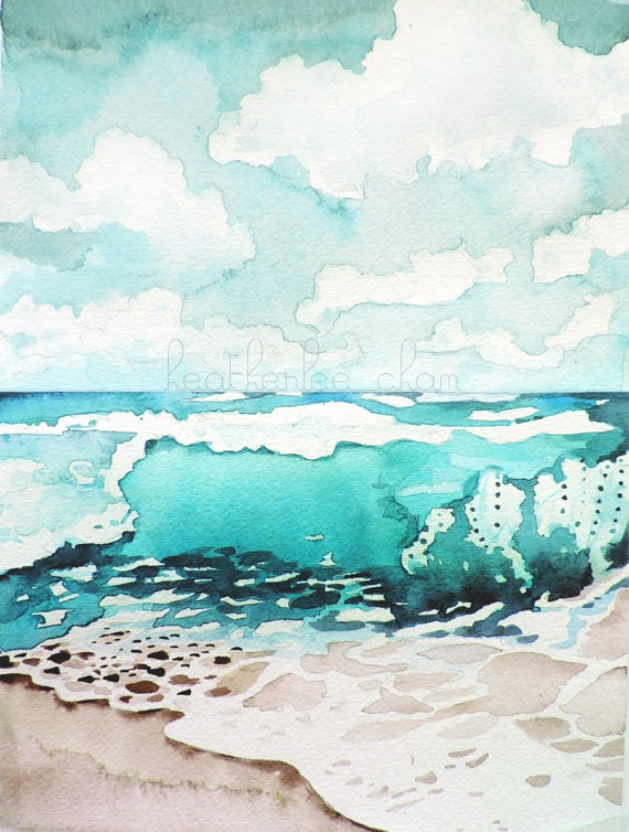 beach painting watercolor landscape print