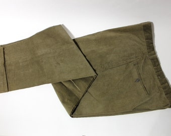 "vintage 50's - 60's Men's 16-wale corduroy trousers in Olive. Flat front - Tapered leg - Change pocket. 40"" Waist. Big Man"