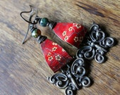 RED AWAKENING, recycled tin earrings, red, cherry blossum, butterflies, gypsy boho, dangle earring
