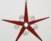 Stained Glass - Bright Red Glass Star - Wire Swirl Accent, Handmade Original