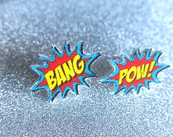 Stud Statement Earrings Geekery Comic Book Pow Bang Word Bubble Post Fun Super Hero Nerdy Nerd For Her Jewelry Kitschy Gift Superhero Action