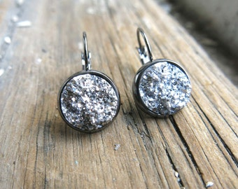 Druzy Earrings Silver Sparkle Quartz Agate Faux with Gunmetal Lever Jewelry Gift For Her Friend Daughter Drusy Present Accessory