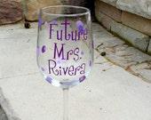 Future Mrs. bachelorette wine glass, personalized with bride name.  Purple plum, lilac, lavender or you pick the colors.  Bride glass
