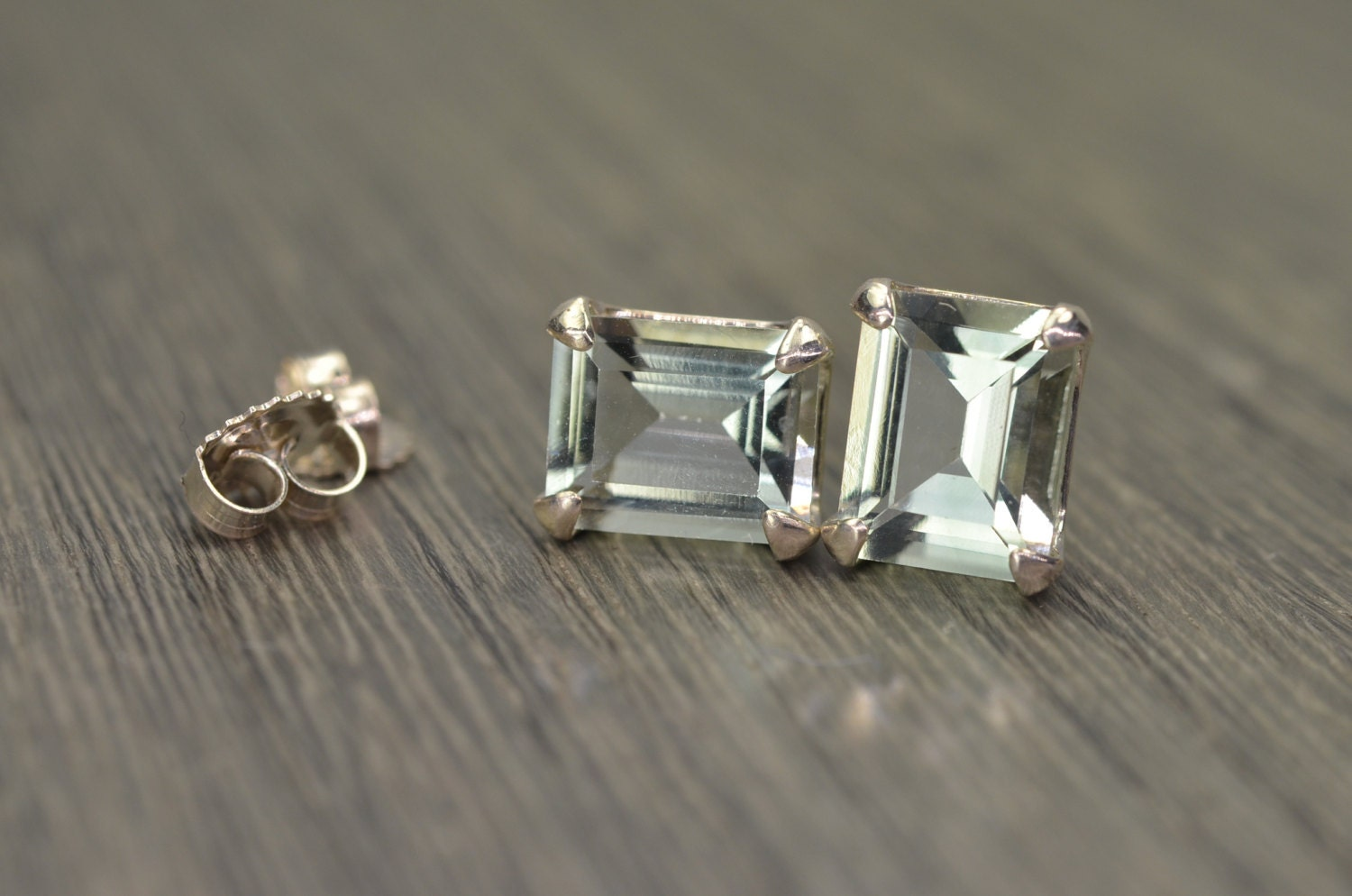 emerald cut stud earrings prasiolite earring emerald cut large silver studs 5ct tw 7350