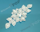 1 - Bridal Wedding Costume Dress Crystal Rhinestone Applique, Sew On Crystal Rhinestone Applique, 13.8cm x 6.3cm (C1-21)