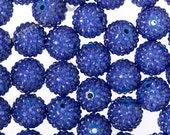 20mm - Royal Blue Rhinestone Beads, Chunky Rhinestone Beads, 20mm Rhinestone Beads, Rhinestone Gumball Beads, 2mm Hole (R8-082)