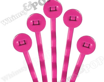 25 PACK - Bobby Pins, Magenta Pink Bobby Pin Blanks, Painted Bobby Pins, Color Bobby Pins, Bobbie Pins, 50mm wide, 7mm Glue Pad (R7-162)
