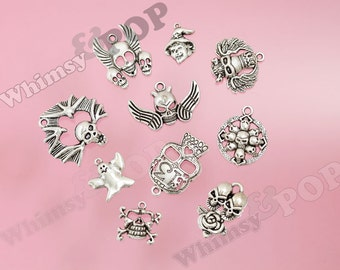 10 - Mixed Halloween Scary Skull Charms, Witch Charms, Ghost Tibetan Silver Charms, Halloween Charms (R8-232)