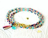 Carnival Candy Swirl - Peachy Keen, Neon Pink, Capri Blue, Rich Navy - Double Wrap Braided Modern Friendship Bracelet