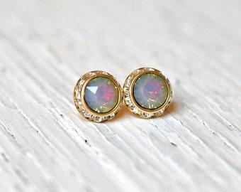 White Opal Rainbow Studs Swarovski Crystal Rhinestone Opal Clear Crystal Stud Earrings Bridesmaid Sugar Sparklers Small Mashugana