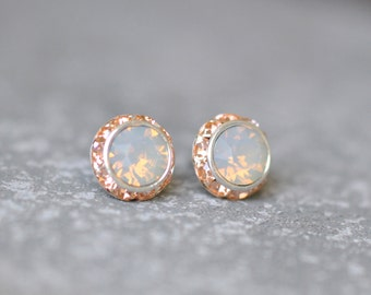 Opal Earrings Peach Gray Bridesmaid Jewelry Halo Earrings Wedding Jewelry Gray Opal Swarovski Crystal Rhinestone Clip On Sugar Sparklers