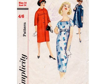 HALF PRICE 1950s Empire Waist Dress and Coat Pattern Simplicity 2856 Vintage Sewing Pattern Bust 34