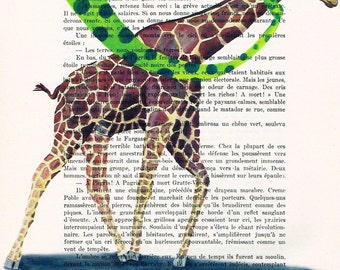 Acrylic paintings Illustration Original Prints Drawing Giclee Posters Mixed Media Art Holiday Decor Gifts: Giraffe in the storm
