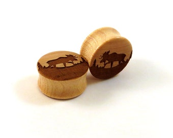 """Moose Maple Wooden Plugs - PAIR - 00g (10mm) 7/16"""" (11mm) 1/2"""" (13mm) 9/16"""" (14mm) 5/8"""" (16mm) 3/4"""" (19mm) 7/8"""" (22mm) 1"""" and up  Ear Gauges"""
