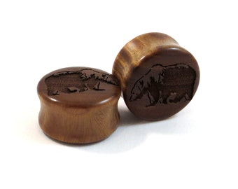 "Grizzly Bear Lignum Vitae Wooden Plugs - PAIR- (10mm) 7/16"" (11mm) 1/2"" (13mm) 9/16"" (14mm) 5/8"" (16 mm) 3/4"" 19mm 7/8"" 1"" + Wood Ear Gauges"