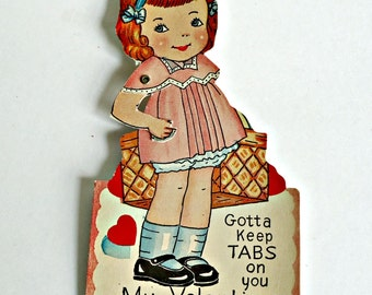 Vintage Valentine's Day Card Mechanical 1940's Girl with Kitten