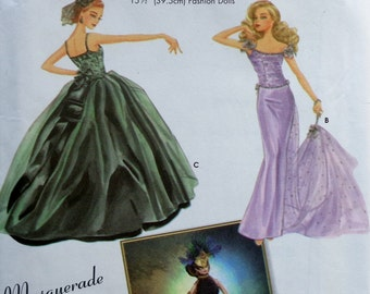 Rare Simplicity Couturier Doll Clothes 5709 Patti Wagner Miller Uncut Sewing Pattern Fashion Doll Clothing Wardrobe - Masquerade Dresses