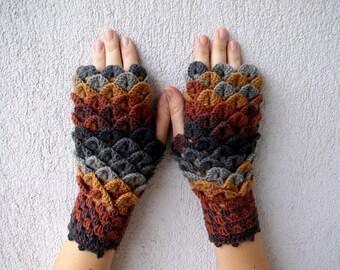 Handmade fingerless gloves Crocheted dragon scales mittens fingerless gloves - grey brown mustard Armwarmers Wristwarmers Womens gloves