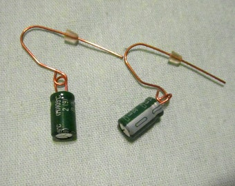 Green Capacitors on Copper Earrings