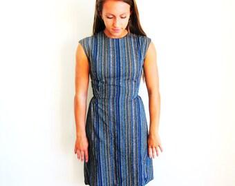 Vintage 60s Blue Stripe Dress, Short Sheath Dress and Shawl Outfit