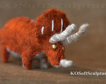 Little Triceratops / soft sculpture dinosaur handmade