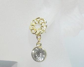 Zircon Glitter Drop Earrings, Post Earrings, Christmas Gifts, Mom Sister Jewelry, Dangle Drop Modern Gold Swirl
