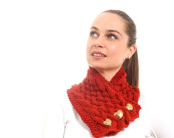 Knitted Scarf, Classica Hand Knit Scarf Brick by Solandia, dark orange, Christmas gift birthday day, heartshaped, Winter Fashion