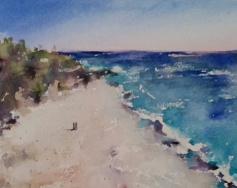 "beach, sand, island, seascape, shore, tropical art, ocean. Beachscape 4. original watercolor painting (6"" x 6"")"