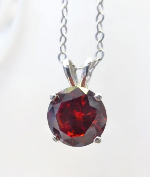 Dark Red Cubic Zirconia Necklace, Zirconia Pendant, Fine Jewelry, 925 Sterling Silver