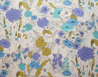 Large Floral in Purple, Turquoise and White on Vintage Sheet Fat Quarter