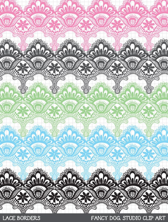 Clip Art Digital Lace Borders Clipart Vector Lace Instant Download