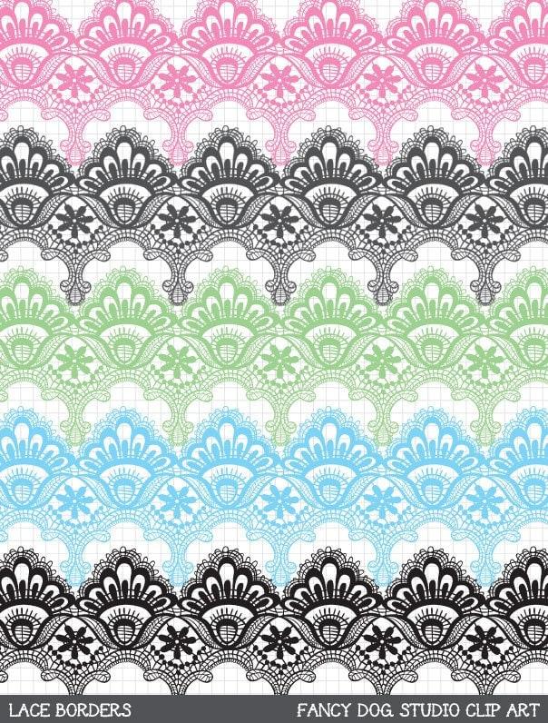 Clip Art Digital Lace Borders Clipart Vector Lace Instant