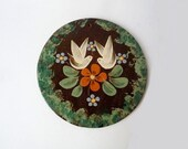 Vintage Handpainted Pottery Wall Plaque