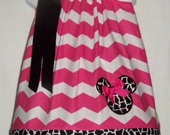 Minnie Mouse Pillowcase Dress / Pink / Chevron / Giraffe / Birthday / Newborn / Infant / Toddler / Baby / Girl / Custom Boutique Clothing
