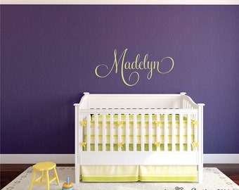 Name Wall Decal Children Decor - Monogram Decal  Nursery Monogram Vinyl Decal -Girls Name Wall Decal- Vinyl Lettering Wall Art (Larger Size