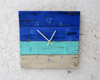 Beautiful OCEAN Blues Wall Clock Beach House Style. Reclaimed Pallet Wood Clock. Rustic Modern...Reclaimed wood, distressed.  Made to Order.
