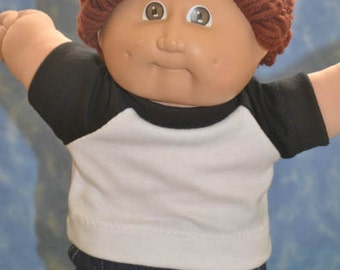 """Cabbage Patch Doll Clothes - for 16"""" - 18"""" Boy Dolls - Black and White T-Shirt - Handmade"""