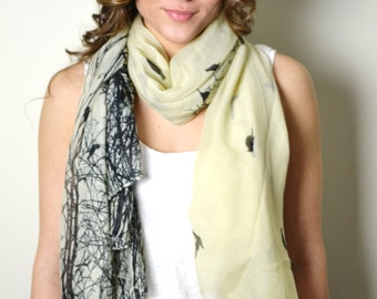 SUPER SALE 18.00 Yellow Birds of Paradise, Bird Print, Magical Scarf, Wrap, Shawl, Bohemian Accessories, Coverup, Summer Scarves