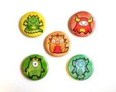 "Cute Monsters Demon Dragon - Blue Orange Green - Set of 5 1.25"" Pin-back Button or Magnet set"