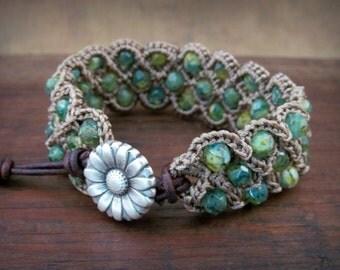 Bohemian Aqua Blue Green Cuff Bracelet,  Flower button leather bracelet, crochet jewelry