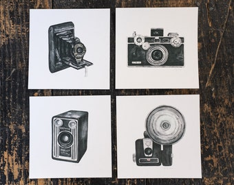 vintage camera print set - four 5x5 art prints - folding / argus / brownie / flash // wall art // home decor