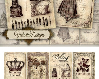 Vintage Memories ATC vintage images digital background instant download printable collage sheet VD0198
